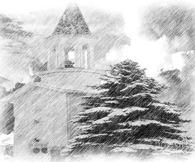 Travel Rights Managed Images - Church On A Cold Winter Morning Royalty-Free Image by Belinda Threeths