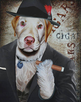 Painting - Cigar Dallas Dog by Vic Ritchey