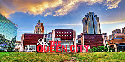 Royalty-Free and Rights-Managed Images - Cincinnati Ohio City Skyline Over Sing The Queen City Panorama by Gregory Ballos