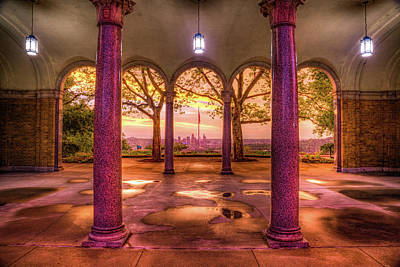 Royalty-Free and Rights-Managed Images - Cincinnati Skyline From Mt Echo Park Pavilion at Sunrise by Gregory Ballos