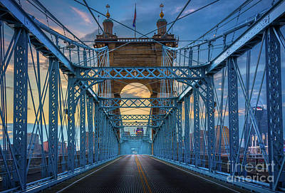 Landscapes Royalty-Free and Rights-Managed Images - Cincinnati Suspension Bridge by Inge Johnsson
