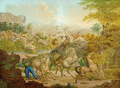 Animals Paintings - CIRCLE OF DUCROS ABRAHAM LOUIS RODOLPHE Moudon 1748  1810 Lausanne The oriental horse hunt by Arpina Shop