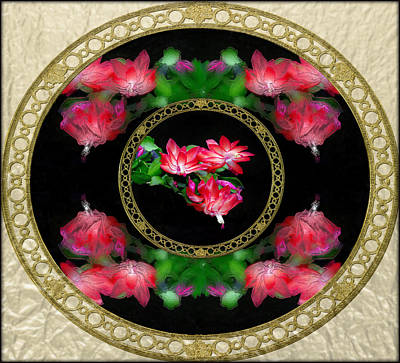 Surrealism Digital Art - Circular Flowers Squared  by Constance Lowery
