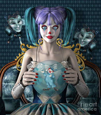 Surrealism Digital Art Rights Managed Images - Circus fortune teller Royalty-Free Image by EllerslieArt