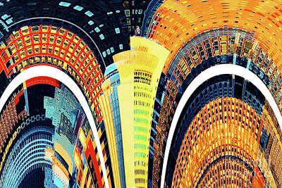Marvelous Marble - City Architecture Abstract in Sundown Colors by Regina Geoghan