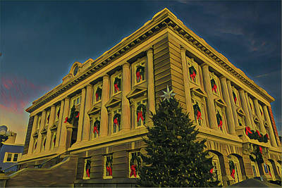 Surrealism Royalty-Free and Rights-Managed Images - City Hall at Christmas by Surreal Jersey Shore