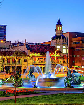 Royalty-Free and Rights-Managed Images - City of Fountains - Kansas City Plaza and JC Nichols Fountain at Dusk by Gregory Ballos