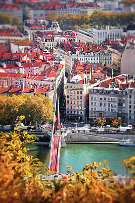Typographic World - City of Lyon France From Fourviere Hill  by Carol Japp