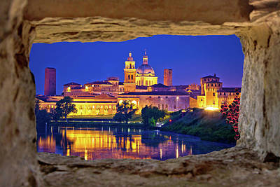 Antique Maps - City of Mantova skyline evening view through stone window by Brch Photography