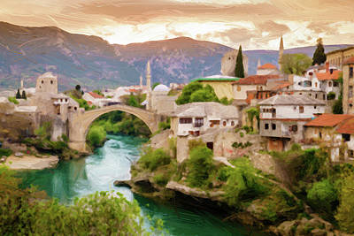 Autumn Pies - City of Mostar Painterly by Alexey Stiop