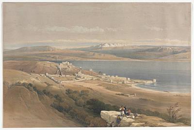 Farm Life Paintings Rob Moline - City of Tiberias on the Sea of Galilee by Artistic Panda