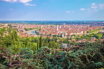 Comedian Drawings - City of Verona old center and Adige river panoramic view from hi by Brch Photography