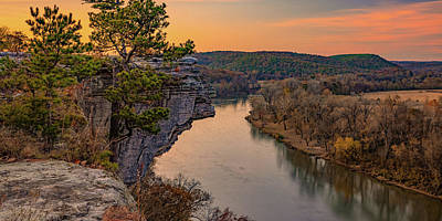 Landscapes Royalty-Free and Rights-Managed Images - City Rock Bluff and Little Hawksbill Crag Landscape Panorama by Gregory Ballos