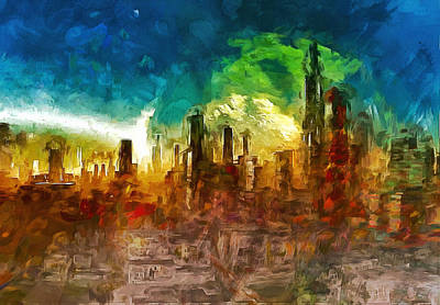 Surrealism Royalty-Free and Rights-Managed Images - Cityscape of the Future by Mario Carini