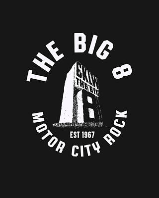 Digital Art - CKLW The Big 8 Motor City Rock white by Thomas Leparskas