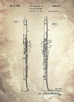Abstract Shapes Janice Austin - CLARINET ATTACHMENT Patent Year 1943 by Drawspots Illustrations