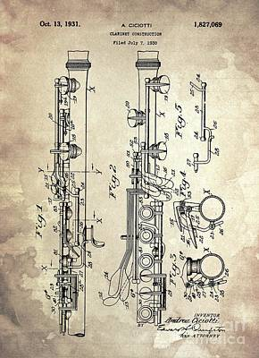 Abstract Shapes Janice Austin - CLARINET CONSTRUCTION Patent Year 1930 by Drawspots Illustrations