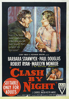 Winter Animals - Clash by Night movie poster with Barbara Stanwyck, 1952 by Stars on Art