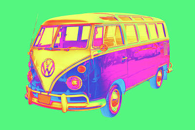 Royalty-Free and Rights-Managed Images - Classic VW 21 window Mini Bus Pop Art Image by Keith Webber Jr