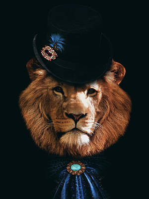 Animals Digital Art Royalty Free Images - Classy lion portrait Royalty-Free Image by Mihaela Pater