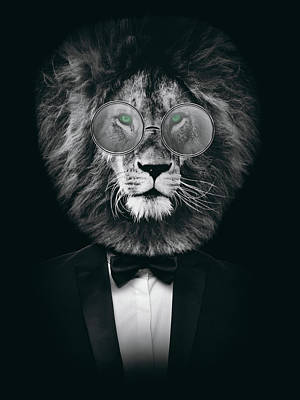Animals Digital Art Royalty Free Images - Classy lion with glasses Royalty-Free Image by Mihaela Pater