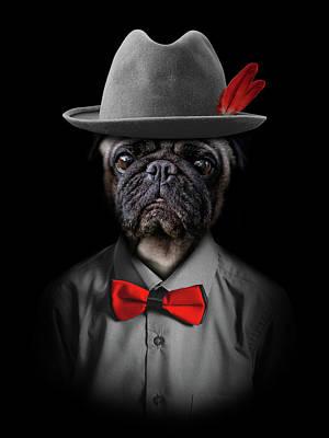 Surrealism Digital Art - Classy pug by Mihaela Pater
