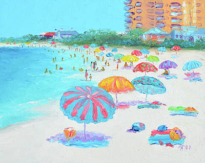 Uncle Sam Posters - Clearwater Beach Florida, umbrellas by Jan Matson