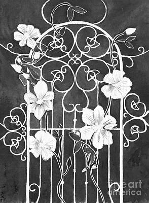 Modern Feathers Art - Clematis Flower on Wrought Iron Trellis Black and White by Conni Schaftenaar