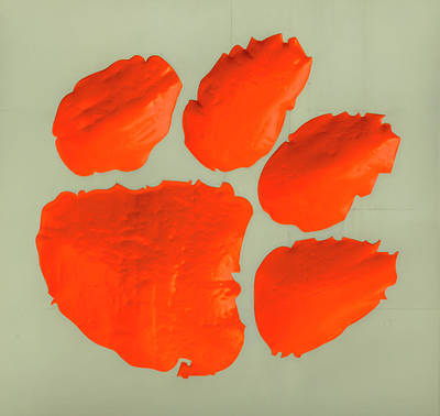 Recently Sold - Sports Royalty-Free and Rights-Managed Images - Clemson University Tigers Famous Tiger Paw 2 Football Art by Reid Callaway