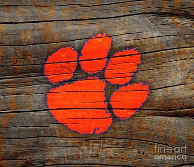 Anne Geddes Florals - Clemson University Tigers Logo On Mottled Rustic Wood by John Stephens