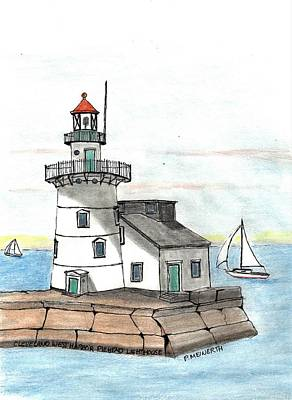 Drawings Royalty Free Images - Cleveland Harbor Light Royalty-Free Image by Paul Meinerth