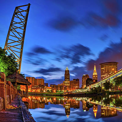 Royalty-Free and Rights-Managed Images - Cleveland Skyline And Cuyahoga River Bridge At Dawn by Gregory Ballos