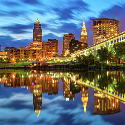 Ps I Love You - Cleveland Skyline From Heritage Park Along The Cuyahoga River by Gregory Ballos
