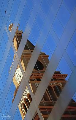 Jerry Sodorff Royalty-Free and Rights-Managed Images - Clock Tower and Flag Reflections by Jerry Sodorff