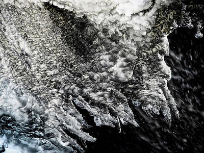 Surrealism Royalty-Free and Rights-Managed Images - Close up of Scary Looking Detailed Ice Sheet Over Water by Stephen Orsillo