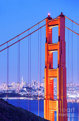 Up Up And Away - Close up of the Golden Gate Bridge at dusk by Conceptual Images