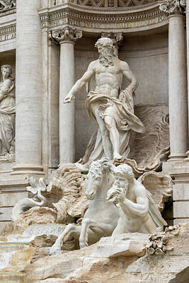 Ps I Love You - Closeup view of the statues of the Trevi Fountain in Rome by Jaroslav Frank