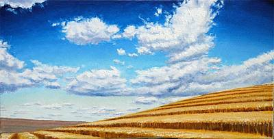 Airplane Paintings - Clouds on the Palouse near Moscow Idaho by Leonard Heid