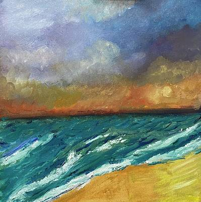 Painting - Cloudy beach by Laurie Rosenbaum
