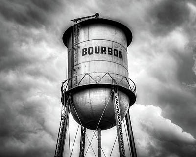 Kitchen Food And Drink Signs - Cloudy Bourbon Tower in Black and White by Gregory Ballos