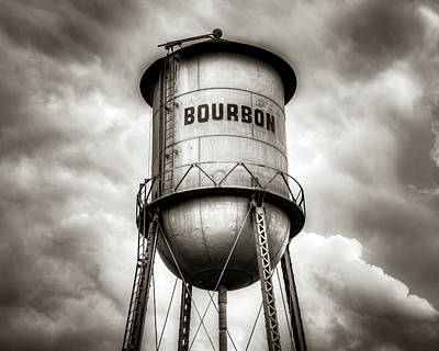 Kitchen Food And Drink Signs - Cloudy Bourbon Tower in Sepia by Gregory Ballos