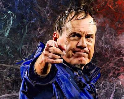 Transportation Digital Art Rights Managed Images - Coach Bill Stephen Belichick Portrait Royalty-Free Image by Scott Wallace Digital Designs