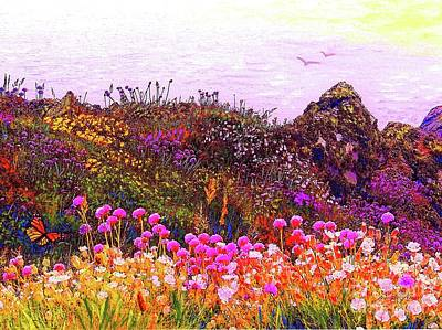 Landscapes Royalty-Free and Rights-Managed Images - Coastal Flowers by Jane Small