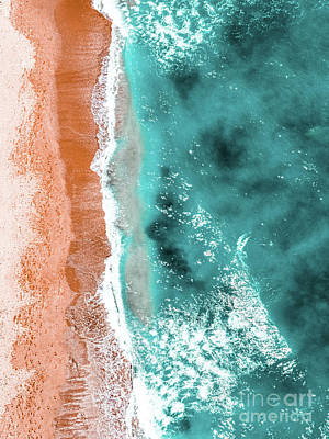 Royalty-Free and Rights-Managed Images - Coastal Print, Summer Beach, Ocean Waves Aerial, Aerial Beach Coastal Print, Aerial Ocean Print by Radu Bercan