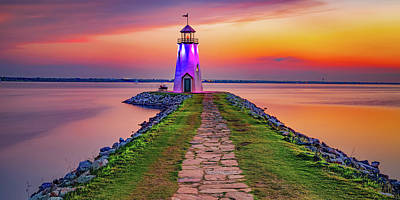 Royalty-Free and Rights-Managed Images - Cobblestone Path To The Lighthouse at East Wharf Panorama by Gregory Ballos