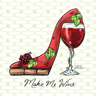 Mixed Media - Cocktail Shoes Wine Walker by Shari Warren