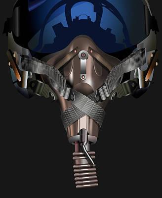 Digital Art - Cold War Fighter Pilot Mask by Dale Jackson