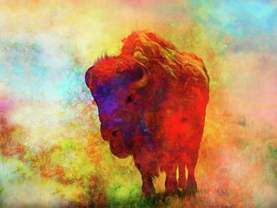 Modern Kitchen - Color Splash Bison Art by Ann Powell