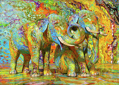 Surrealism Royalty-Free and Rights-Managed Images - Color Splash Elephant Pair by Betsy Knapp