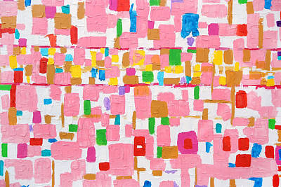 Royalty-Free and Rights-Managed Images - Colorful acrylic color brush strokes on white texture, on canvas by Julien